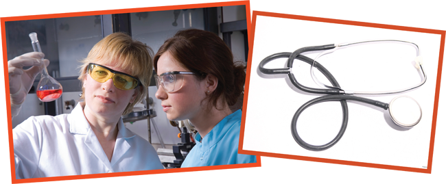 stock photos of researchers and a stethoscope