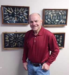 Four framed collections of arrowheads