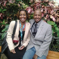 David Lacks Jr. (left) and his cousin Jeri Lacks–Whye (right) often speak publically about the Lacks family's experiences with the HeLa cell line.