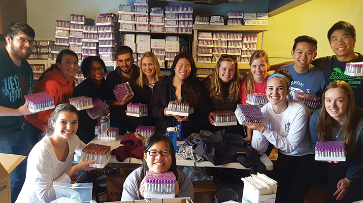Cheung and a group of Health Sciences Learning Community students volunteered with Randolph World Ministries in 2016.
