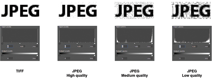 Figure 1. Saving your data as a JPEG changes the pixels in your image.