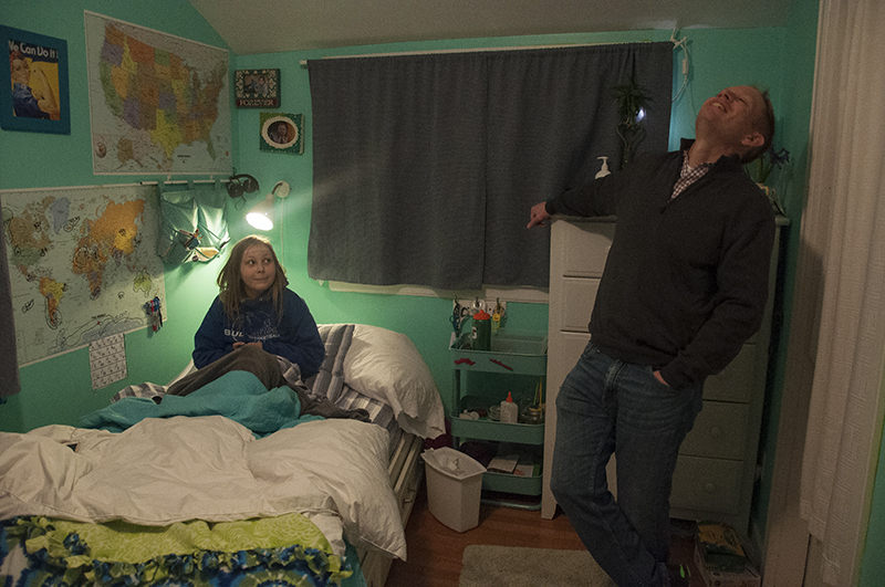 Lizzie talking to her dad