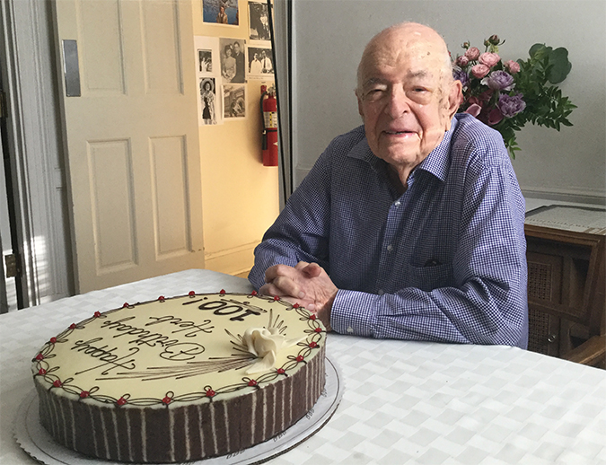 Herb Tabor with birthday cake