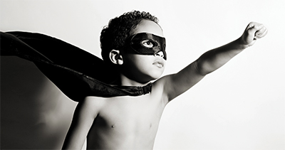 Child dressed as a super hero