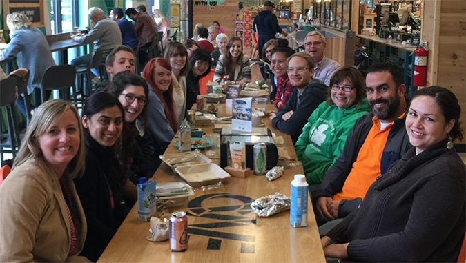 Members of the Schaffer lab enjoy a lunch outing.