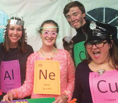 Science club members dressed up as elements from the periodic table