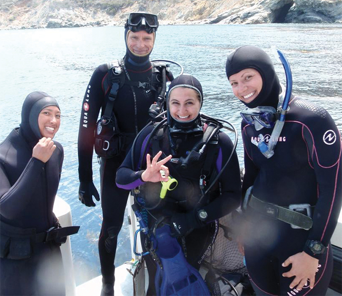 Paul Jensen, center, and members of his lab collect samples at the Channel Islands.